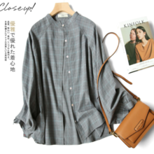 ZOJ Japanese retro plaid loose shirt female
