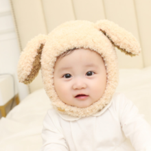Korean version of winter plush rabbit ears baby hat thickening