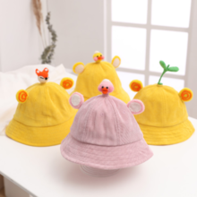 Children's hat cute corduroy bean sprouts fisherman hat rabbit ears