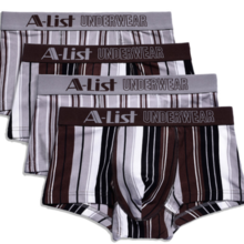 European and American men's underwear striped cotton boxer briefs