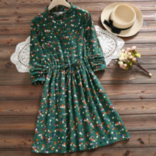 New color cotton long-sleeved waist women's dress 2019 spring new