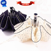 Creative umbrella automatic three folding anchor small fresh lace umbrella