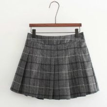 Autumn and winter new college wind elastic waist plaid skirt 15225