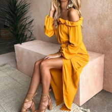 Wish burst version of the new mango yellow small fresh sleek pleated big dress dress topless slit long skirt female