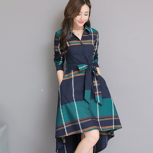 2019 spring and autumn new plaid shirt waist stylish irregular long section dignified atmospheric dress female