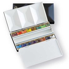 Holbein Solid Watercolor Paint Artist Pan Color Metal Box 16 Colors Set PN681 2681