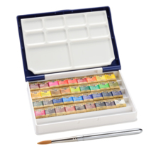 Holbine Solid Watercolor Paint Artistic Pan Color 36 Colors Set Resin Case PN698 Half Pan