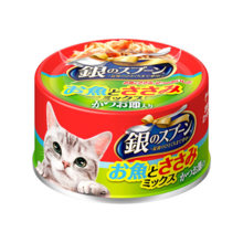 Uni-charm silver spoon for cats fish and fillet mix 70 g with dried bonito