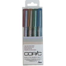 Copic Too multi-liner 4-pack color set (Sepia / Wine / Cobalt / Olive 0.3 each)