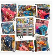 saria Children Toy F 1 Animal Gun Pink 2 Star Kirby Blue 3 Shabon Jade Dolphin Pink 4 Animal Gun Blue 5 Sponge Capsule 6 Shabon Jade Heart Blue 7 Shabon Jade Dolphin Blue 8 Star Kirby Pink 9 Animal Shabu Jade Orange