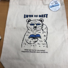 seria cotton tote bag bear blue 360x280x100