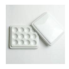 三吉 絵皿 白磁12穴皿(フタ付)10×8cm