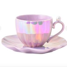 Francfranc Opal Shell Cup Saucer Purple